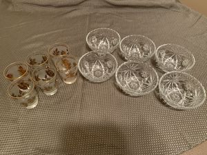 Glasses and Bowl Set - Set of 6 for Sale in Bloomington, IL