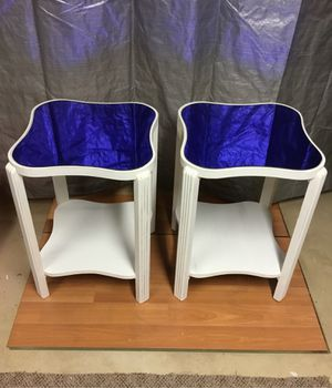 2 Retro Refinished Colbalt Blue Wooden End Tables for Sale in Spring Grove, PA