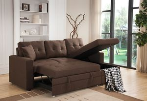 BROWN Tufted Linen Fabric Pull Out Sectional Sofa Bed W/Storage & Pillows for Sale in Pomona, CA