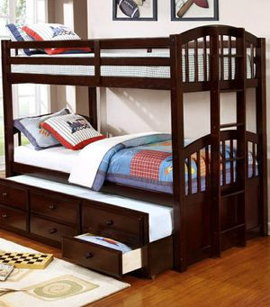 Camden Espresso Twin Over Twin Bunk Bed with Storage Drawers and Twin Trundle for Sale in Katy, TX