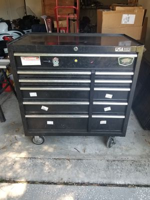 Black usa tool box red snap on roll cart with attachments both good condition for Sale in Brandon, FL