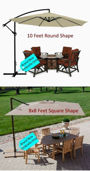 Brand new large Offset cantilever umbrella patio family outdoor gathering sun shade party BBQ picnic tent canopy beige color UV protection for Sale in South El Monte, CA