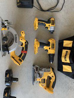 Dewalt 18v Cordless Too Set W/ 2 Batteries: Drill, Impact Gun, Jigsaw, Skill Saw for Sale in Seattle,  WA