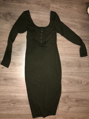 Fashion Nova long sleeve olive midi dress (S) for Sale in Corona, CA