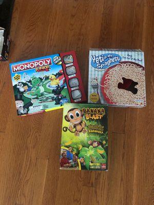 Kids Board games -monopoly junior, banana blast, spaghetti- for Sale in Chicago, IL