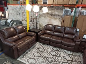 Real Leather Reclining Sofa & Loveseat, Brown for Sale in Santa Fe Springs, CA