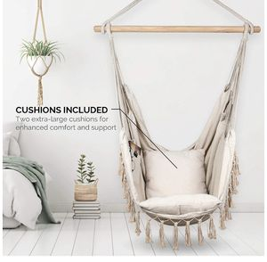 Komorebi Hammock Chair | Hanging Rope Swing Seat for Indoor & Outdoor | Soft & Durable Cotton Canvas | 2 Cushions Included | Large Reading Chair with for Sale in Lancaster, CA