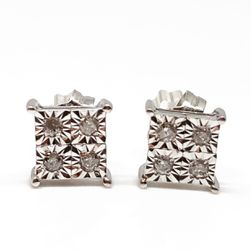 14k White Gold Genuine Round Brilliant Cut Diamond Cluster Earrings for Sale in Baltimore,  MD