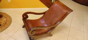 Indoor Lounge Leather and Wooden Chair for Sale in Miami, FL