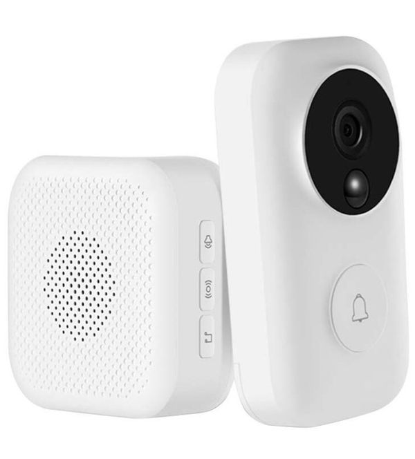 Smart Wireless WiFi Video Doorbell Super Glue Installation HD Security Camera with AI Face Recognition Fireproof Material PIR Motion Detection Night