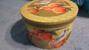 """Decorative Storage Box~ ~Orchard by Revelations~ ~Blue Jays~Apples~ contains a sectioned tray~Medium: 4 3/4"""" tall x 7 1/4"""" wide for Sale in Manteca, CA"""