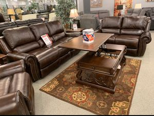 Real leather sofa and loveseat. $54 down delivers. No credit needed! for Sale in Tukwila, WA