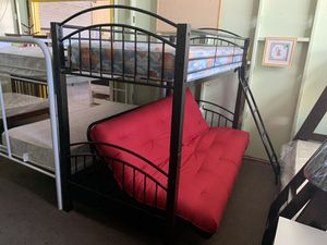 Twin/ futon bunk bed with mattress and futon pad included everything new for Sale in Las Vegas, NV
