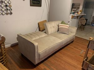Futon good condition crime color treated with scotch guard for Sale in Bakersfield, CA