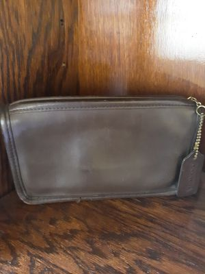 Authentic Brown Leather Coach Makeup Bag/Clutch for Sale in Columbus, OH