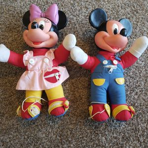 Vintage Mickey And Minnie Learn To Button, Snap & Zip Dolls for Sale in Argyle, TX