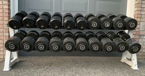 Workout Rubber Dumbbells 85-135lbs (2240lbs Total) Weights w/ Rack Commercial Grade for Sale in Happy Valley, OR