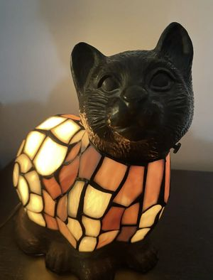 Beautiful Stained Glass & Brass Kitten Lamp Cat for Sale in Williamsburg, VA