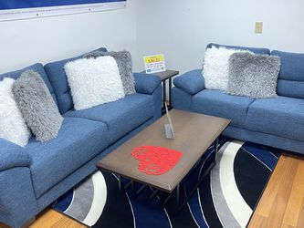 SALE!!! Mendoza Blue Fabric Sofa And Loveseat. No Credit Needed Financing. Only $50 Down And Delivery Today 🚚!!! for Sale in Tampa,  FL
