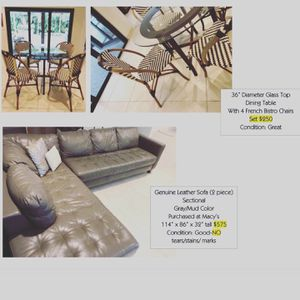 Sofas, fans, accent chairs and table, bedroom and dining sets. Update* leather sectional and fans sold for Sale in Miami, FL