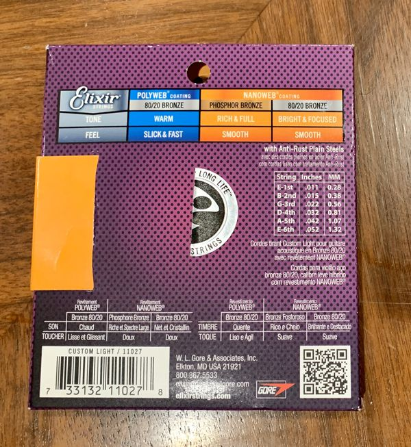 Elixir Acoustic Guitar Strings - Light 11-52