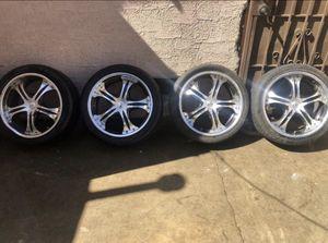 "Wow look 18"" 4x114 4-Lug Universal 18 "" Rims fit Honda 1999 -2002 Aluminum / black 1 rim Bent tires 70% lift on them $200 Best Offer for Sale in Fontana, CA"