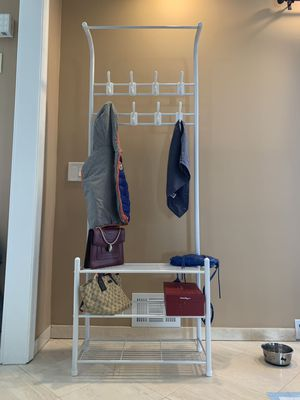Metal Coat Garment Rack with 3 Tier Shoes Rack Shelves Hall Tree Storage Organizer for Entryway, White for Sale in Piscataway Township, NJ