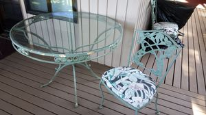 Ornate Glass and Metal Table and 4 Chairs (patio, furniture, set, outdoor, round, shabby chic, seating arrangement) for Sale in Woodinville, WA