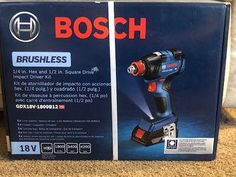 Bosch 18V 1/4in. Hex and 1/2in. 2-in-1 Square Drive Impact Driver Kit GDX18V-1800B12 for Sale in Philadelphia,  PA