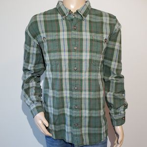 Duluth Trading Company Flannel Plaid Shirt Mens Size 3XL Button Down Green for Sale in West Columbia, SC