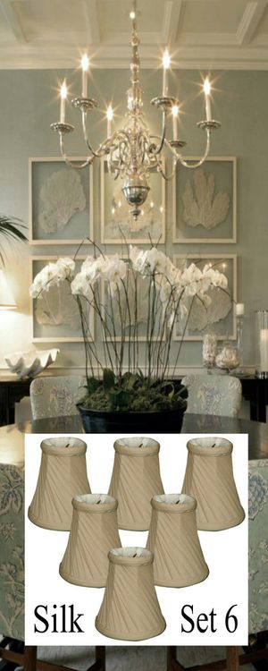 Brand New Royal Designs Silk 5-inch Twisted Bell Chandelier Lamp Shades Set of 6 for Sale in Boca Raton, FL