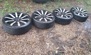 "4 rims 20"" with tires, 1 rim damaged but can be fixed(nothing crazy) for Sale in Jacksonville, FL"