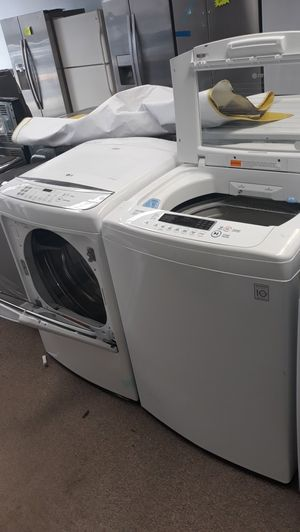 Lg white top load washer/dryer set brand new scratch and dent for Sale in Maryland City, MD