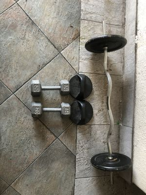 CURL BAR 50lbs 2 x 20lbs dumbbells push up HANDLES for Sale in South Gate, CA