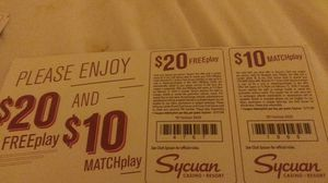 Sycuan $20 Freeplay and $10 Matchplay for Sale in San Diego, CA