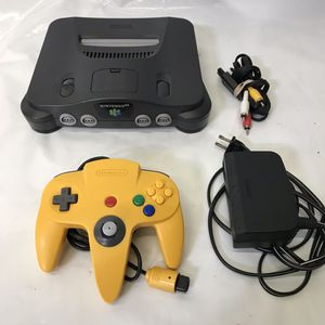 Nintendo 64 n64 system console with yellow official controller and cables for Sale in Rockville, MD