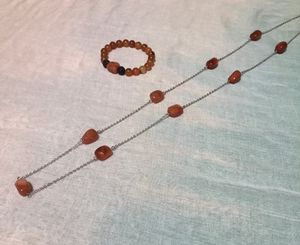 Carnelian Crystal Necklace and Bracelet Set for Sale in Houston, TX