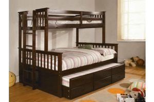 Brand New Twin over Full Bunk Bed w Trundle Bed + Drawers for Sale in Los Angeles, CA