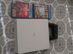 PS4 slim Clean all white ,Cords , 2 games , and controller for Sale in Hollywood, FL