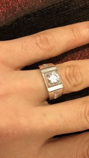 Unisex Stamped 925 Sterling Silver Square Cut Diamond Ring- Code Lq10 for Sale in Jacksonville, FL