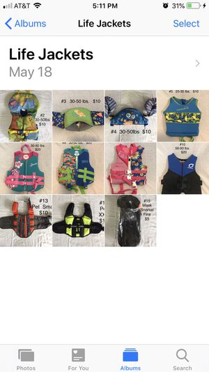 Life Jackets Size and Price Vary. for Sale in Henderson, KY