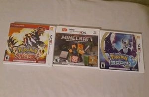 Pokemon and minecraft for the 3ds for Sale in Amarillo, TX