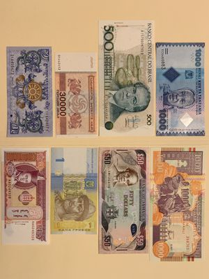 8 PCS World Mix Banknote Set for $12 Currency Money Tanzania Brazil Georgia Bhutan Somalia Jamaica Ukraine Mongolia for Sale in Smyrna, GA