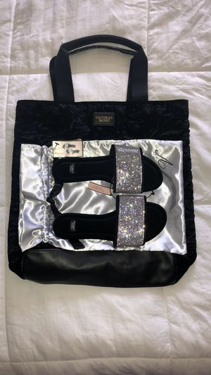 Victoria's Secret Rhinestone Slippers and Tote for Sale in Highland, CA