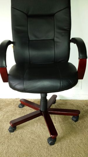 Black Leather & Red Wood office Chairs for Sale in Fairfax, VA
