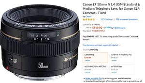 Canon EF 50mm F/1.4 Fixed Lens for Sale in VA, US
