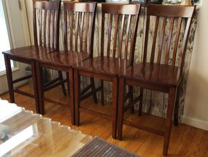 Set of 4-Highback Slatted Counter Height Wooden Chairs for Sale in Arvada, CO