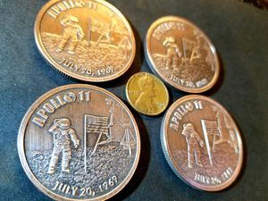 4 pieces total. Four 1 ounce copper antiqued Apollo 11 50th Anniversary 1 ounce copper antiqued coins. for Sale in Auburn, WA