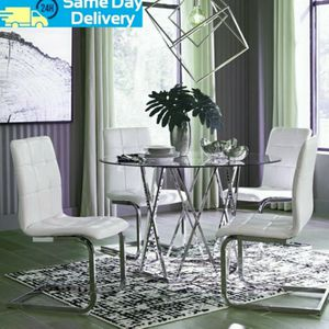❤İn Stock 💥Madanere White/Chrome Dining Room Set | D275 by Ashley for Sale in Washington, DC