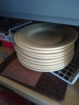 Pottery Barn Dinner Plates-pale yellow for Sale in Le Roy, MI